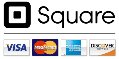 Payment methods accepted via Square: Visa, Mastercard, American Express, Discover