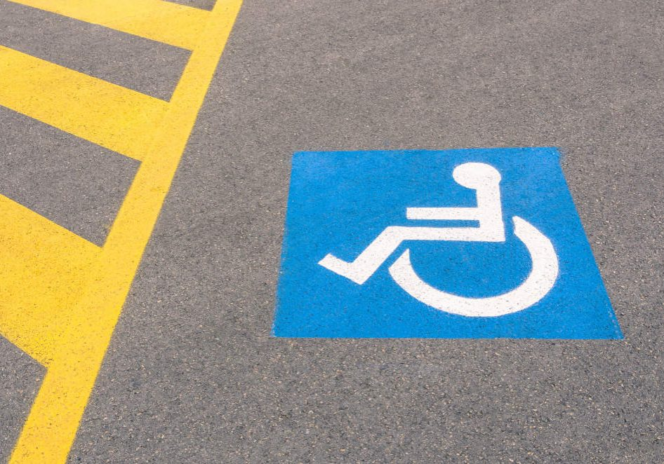 Handicap road sign Parking spots