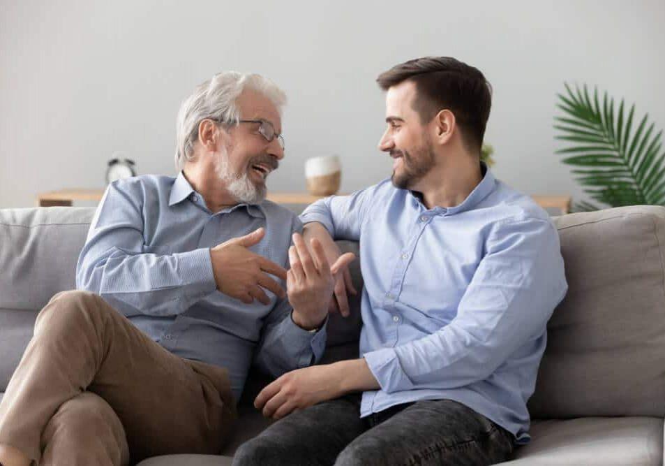 senior father talking chatting
